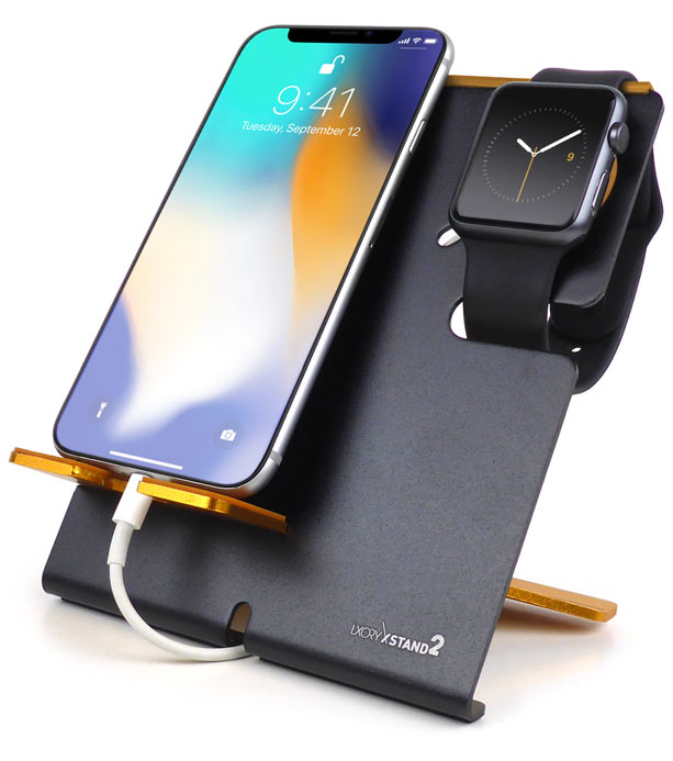 XStand2 Black-Orange Apple Watch Dock